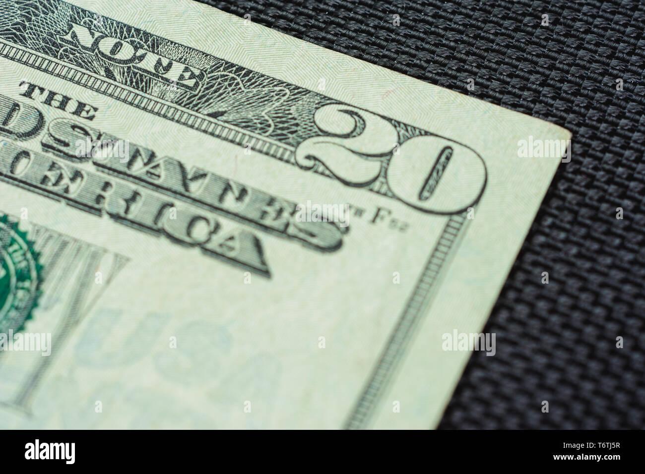 Closure of US money is twenty dollar bills, US twenty dollar bill fragment of macro. 2019 - Stock Image