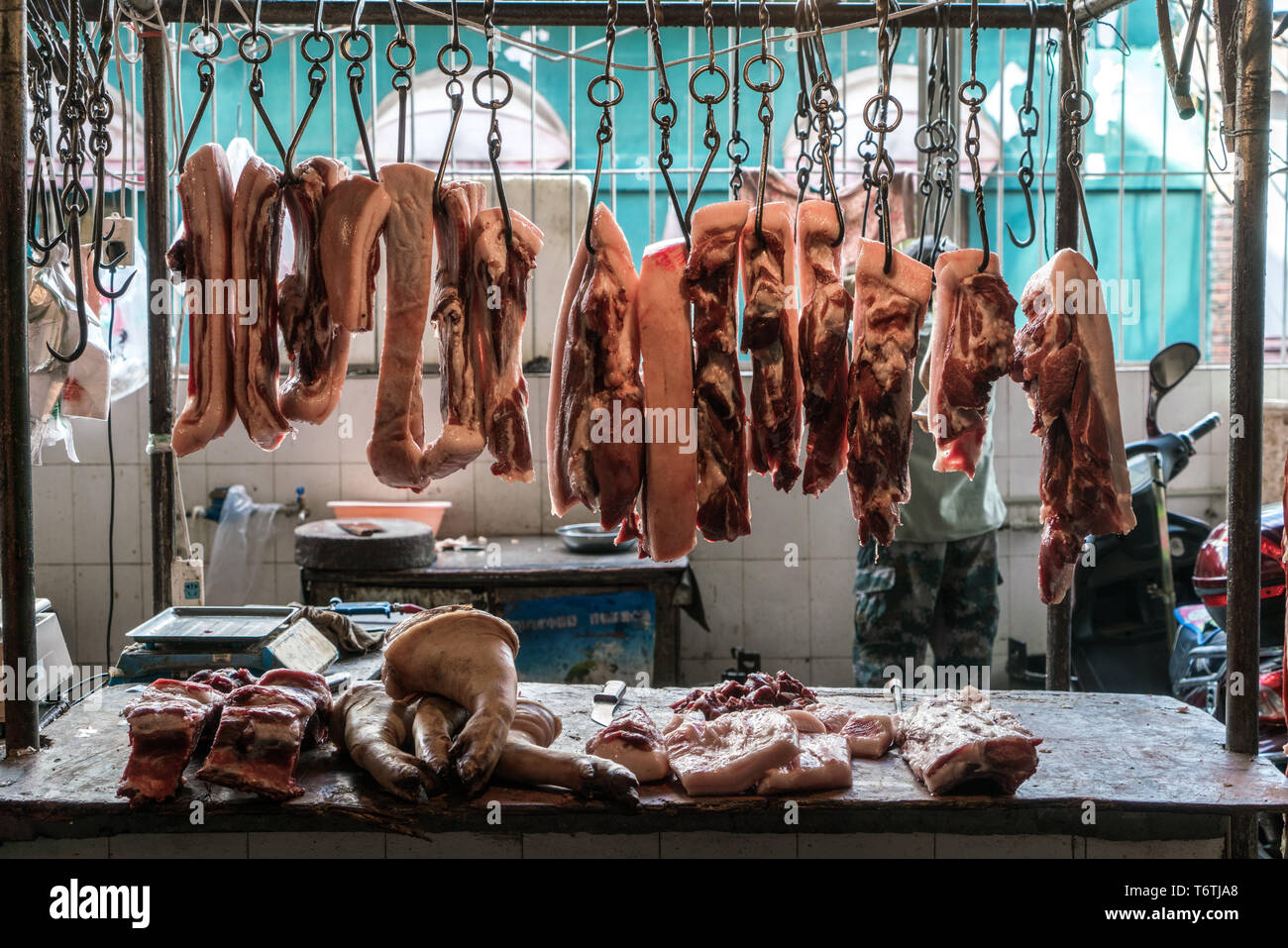 A Meat counter in China - Stock Image