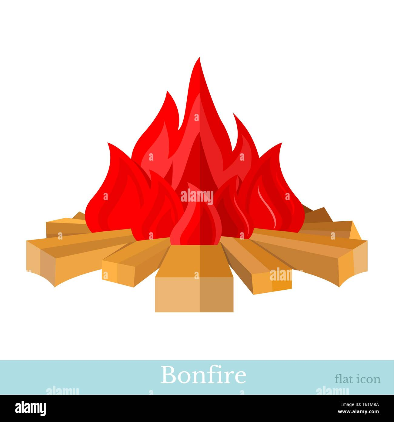 flat bonfire flame and firewood isolated on white - Stock Vector