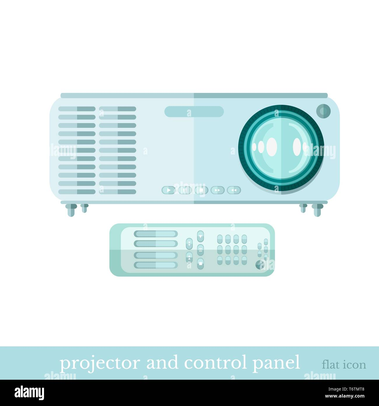 flat icon projector and controle panel object on white Stock Vector