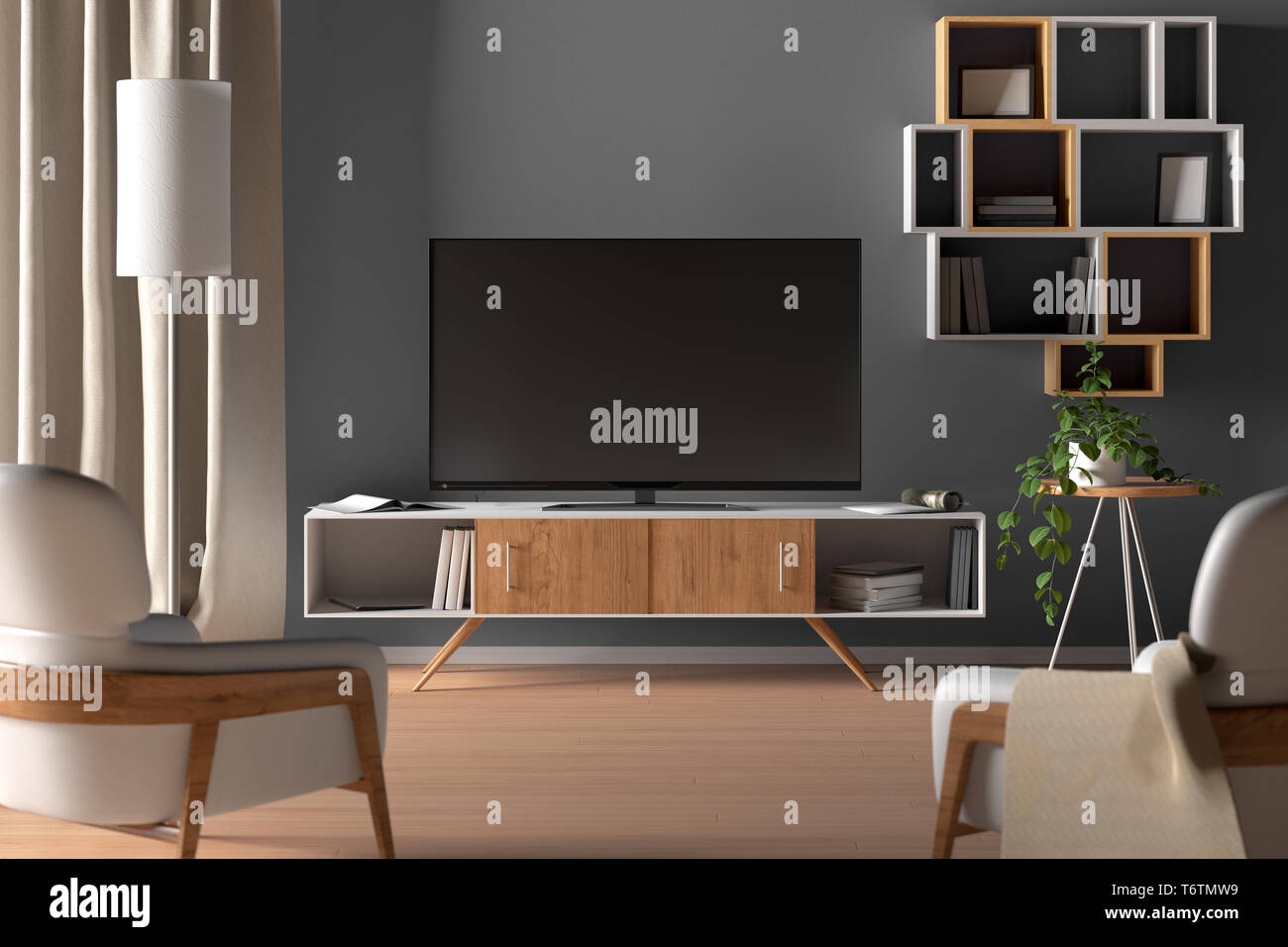 Tv On The Cabinet In Modern Living Room On Gray Wall