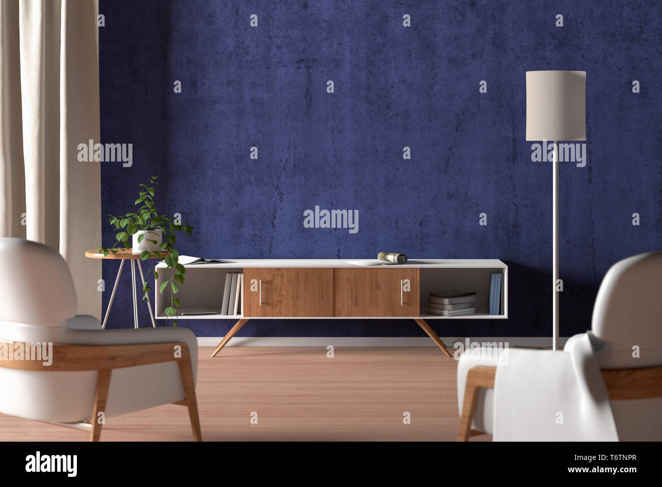 Tv Cabinet In Modern Living Room With Blank Blue Wall Background 3d Illustration Stock Photo Alamy