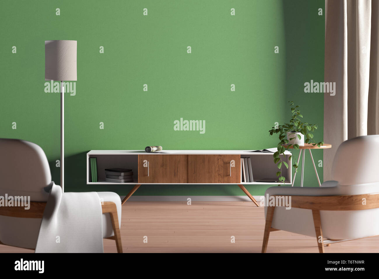 TV cabinet in modern living room with blank green wall background ...