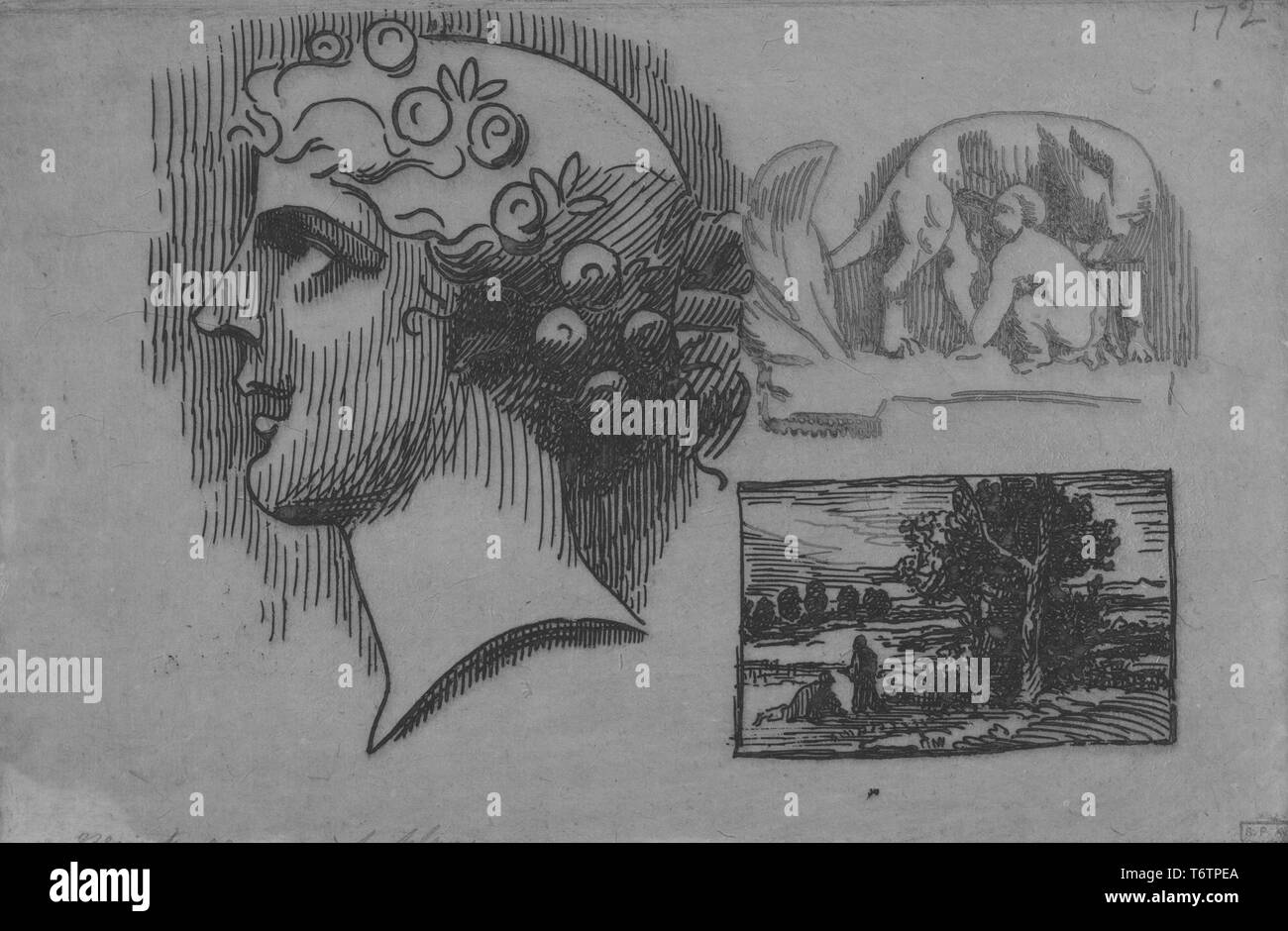 Three black and white etchings on a single page; depicting (left) a classically styled female head, in profile, wearing a decorative floral wreath; (top right) a she-wolf suckling a child, likely referring to Romulus, the legendary founder of Rome; (lower right) a landscape constrained to a small rectangle; titled 'Louve allaitant un enfant, tete de profil, et paysage' (She-Wolf Suckling a Child, Head in Profile, and Landscape); numbered, by the illustrator Felix Bracquemond, 1867. From the New York Public Library. () - Stock Image