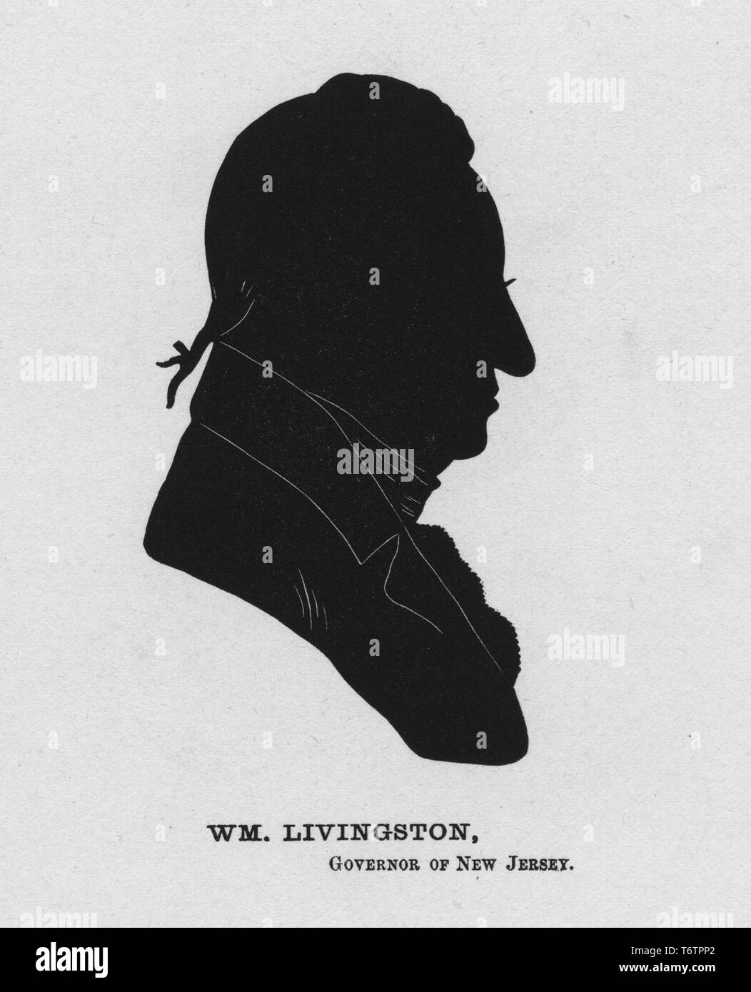 Silhouette profile of William Livingston, the Governor of New Jersey during the American Revolutionary War, an American politician from Albany, New York, 1774. From the New York Public Library. () - Stock Image