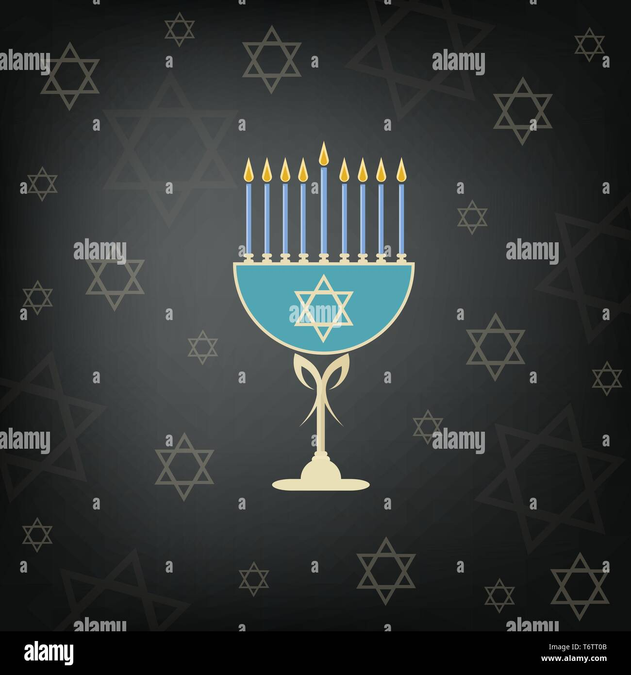 vector of the jewish holiday of hanukkah with the golden menorah and the traditional candelabra and burning candles on a black background with the sta - Stock Vector