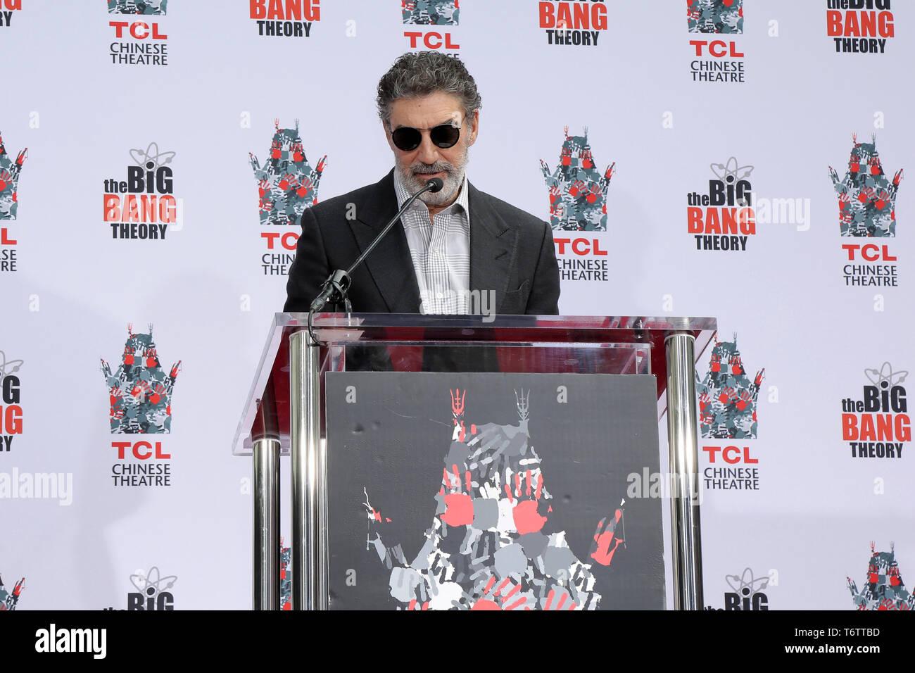 May 1, 2019 - Los Angeles, CA, USA - LOS ANGELES - MAY 1:  Chuck Lorre at the ''The Big Bang Theory'' Handprint Ceremony at the TCL Chinese Theater IMAX on May 1, 2019 in Los Angeles, CA (Credit Image: © Kay Blake/ZUMA Wire) - Stock Image