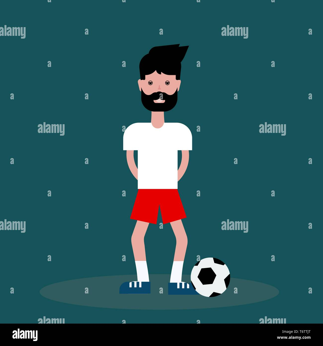 flat vector guy boy footballer on green background in shorts and T-shirt with ball - Stock Vector