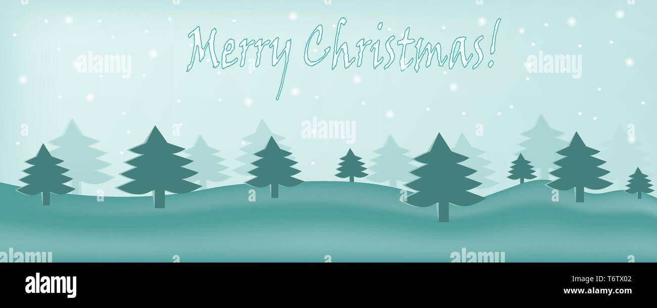 vector beautiful picture card with nature forest in winter with fir trees and falling snow on New Year and happy  Merry Christmas green with text insc Stock Vector