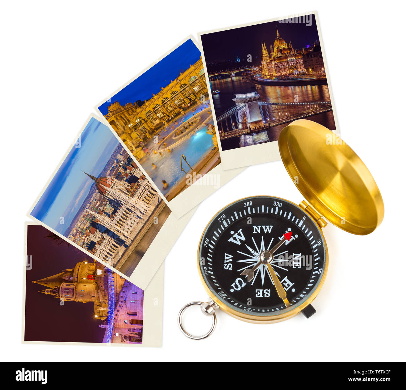 Budapest Hungary travel images (my photos) and compass - Stock Image