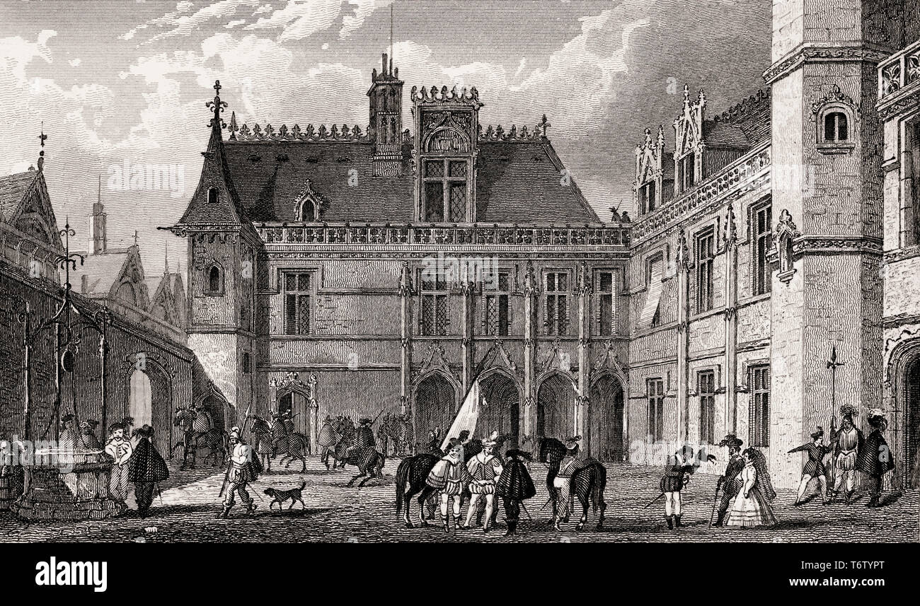 Hôtel de Cluny, Paris,15th century, antique steel engraved print, 1831 - Stock Image