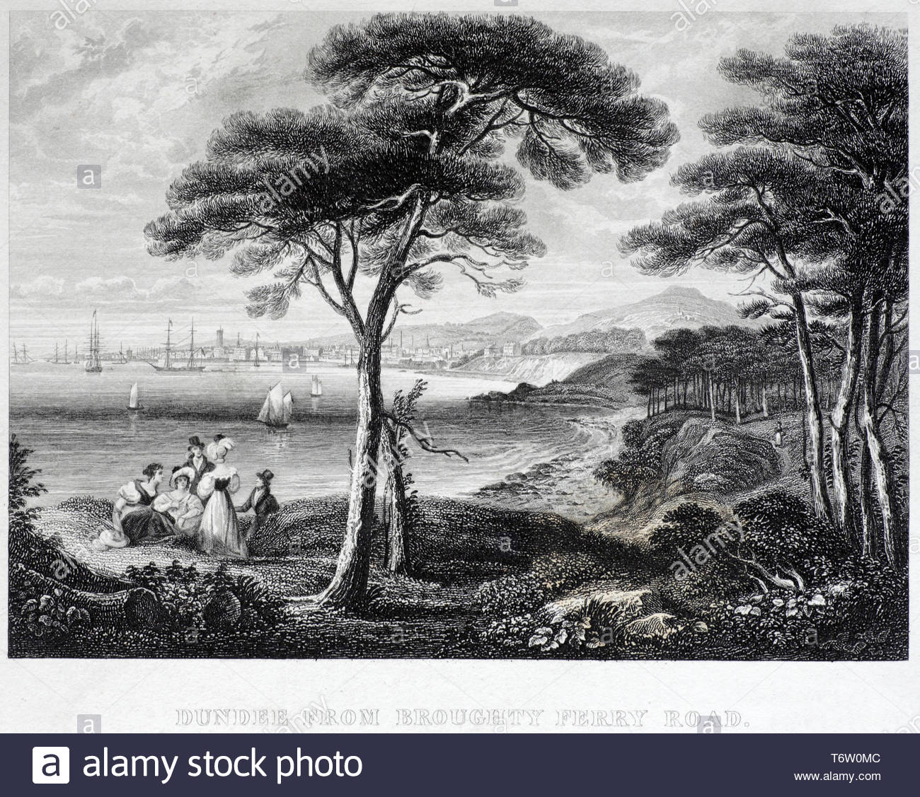 View of Dundee Scotland, from Broughty Ferry Road, antique engraving from 1843 - Stock Image
