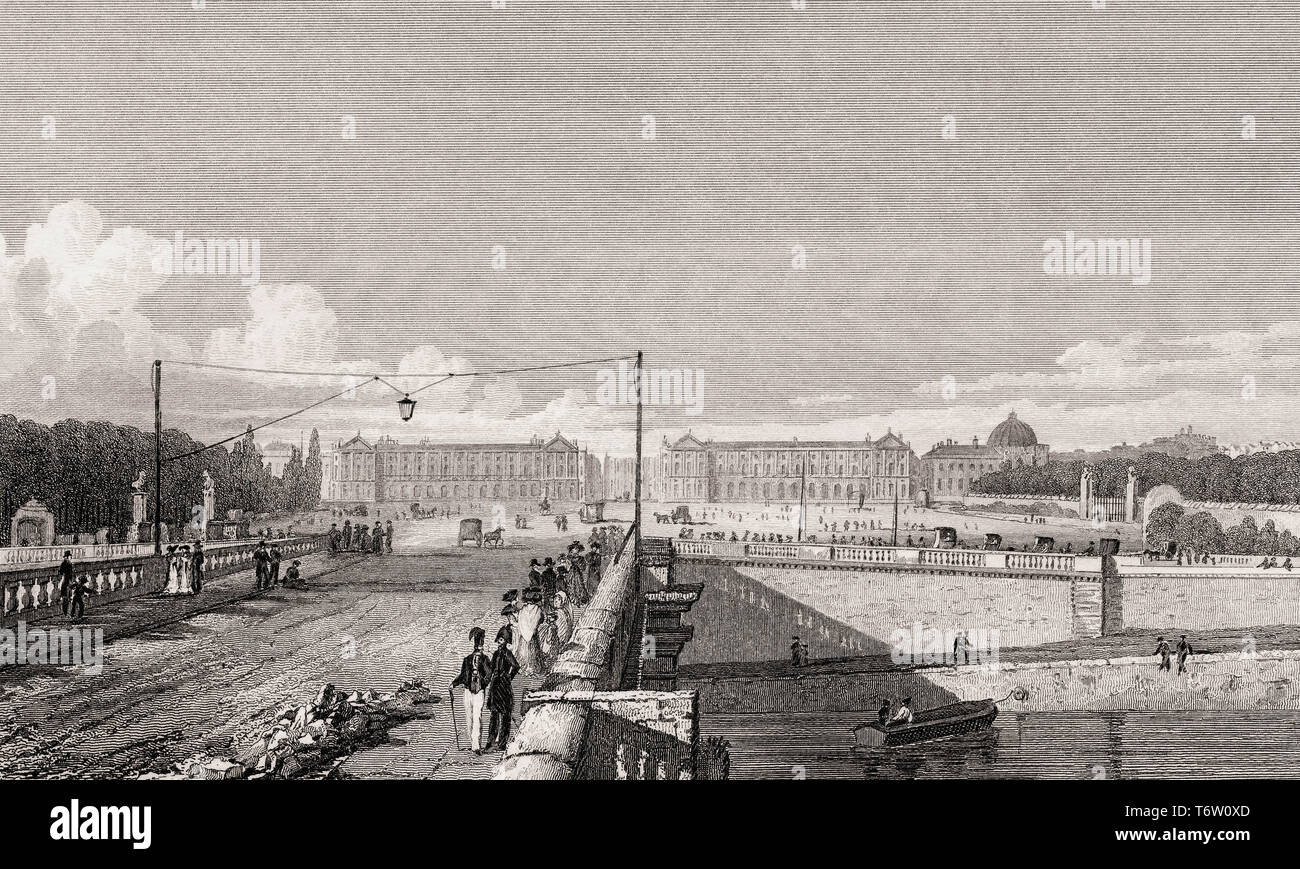 The Place de la Concorde,  Paris, antique steel engraved print, 1831 - Stock Image