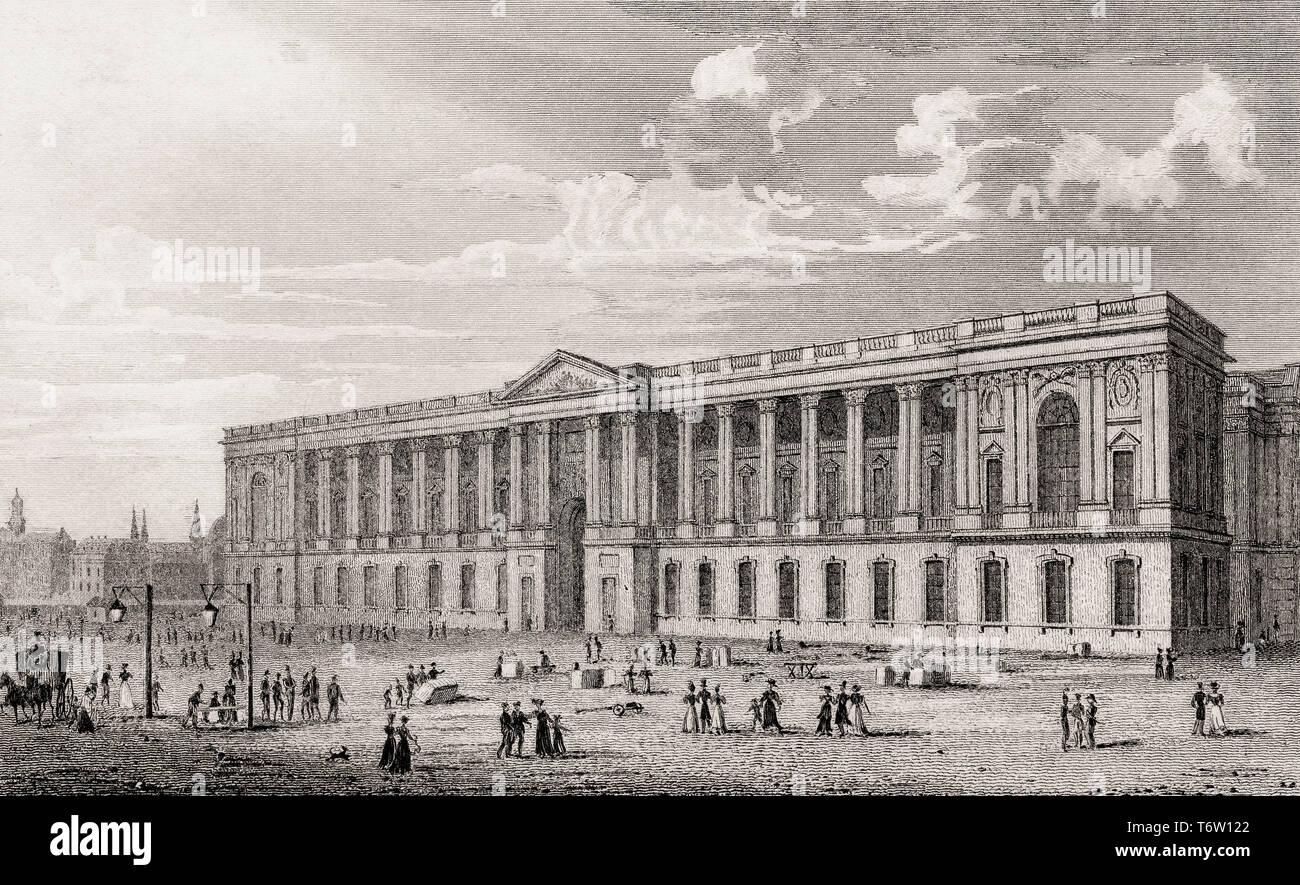 The Louvre Museum, Paris, antique steel engraved print, 1831 - Stock Image