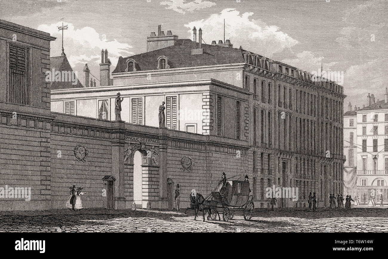 Banque de France, Paris, antique steel engraved print, 1831 - Stock Image