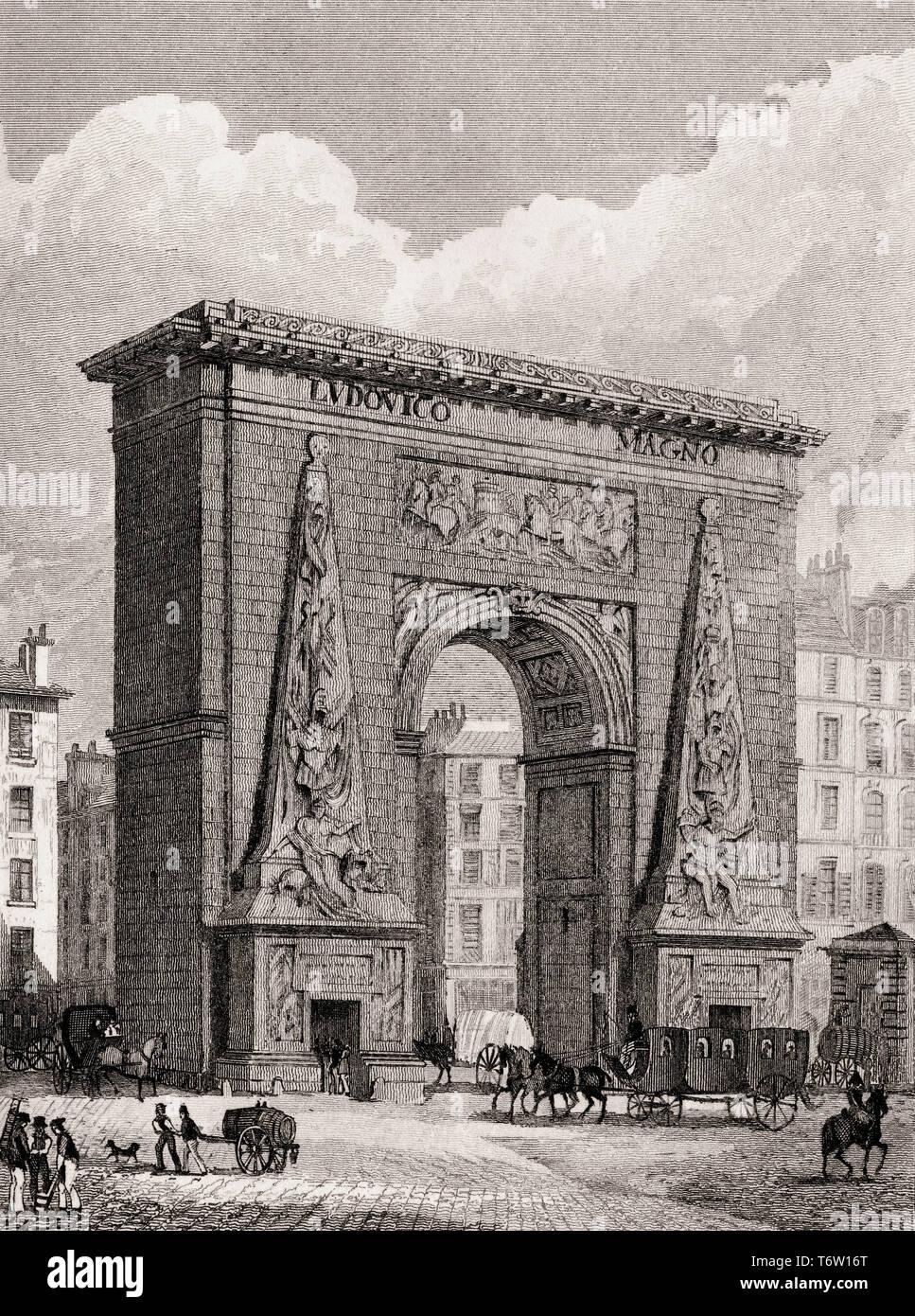 The Porte Saint-Denis, Paris, antique steel engraved print, 1831 - Stock Image