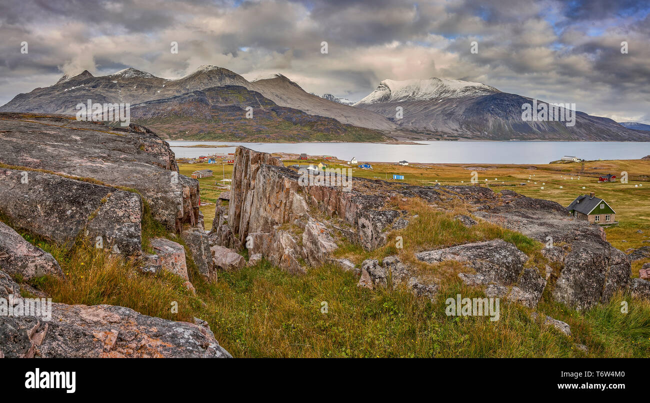 Igaliku ancient Norse ruins at Gardar, South Greenland Stock Photo