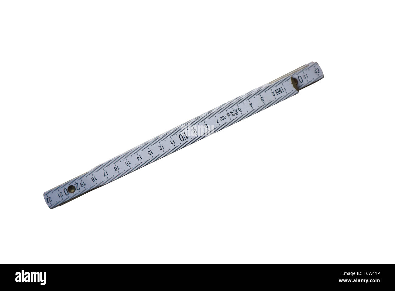 Old used measuring tool isolated on white background - Stock Image
