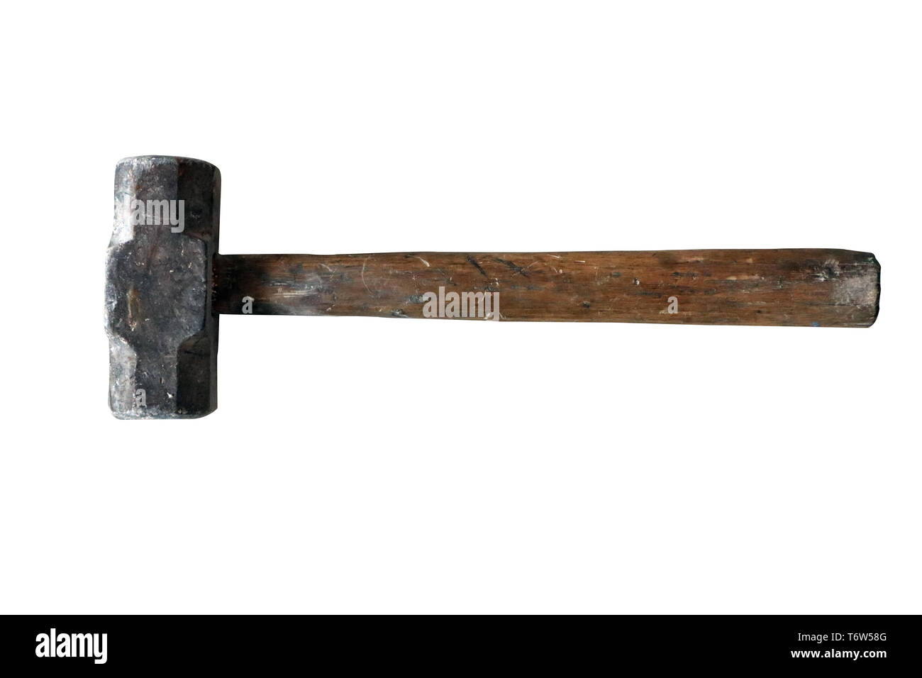 Old used hammer tool isolated on white background - Stock Image