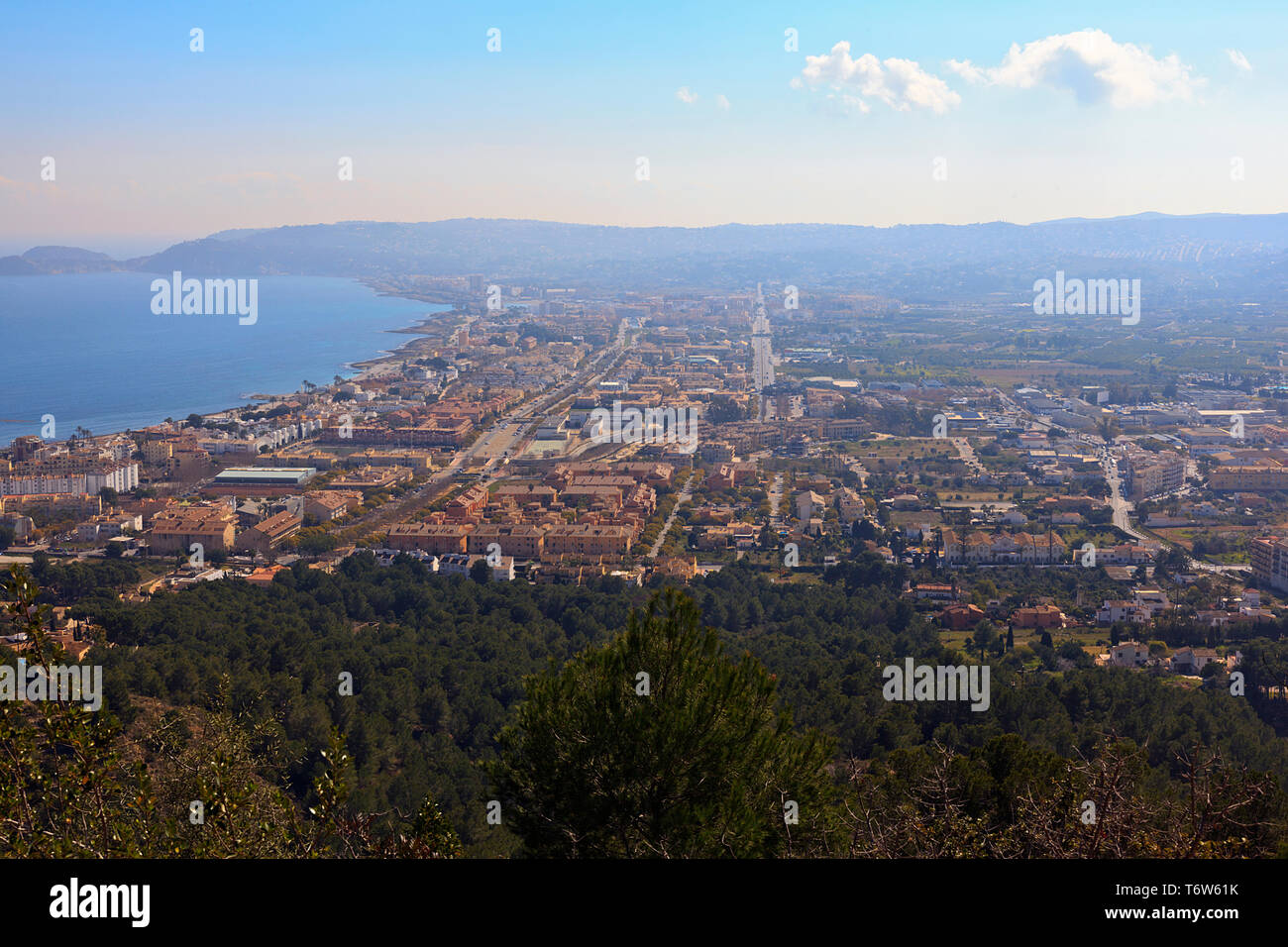 Misty view from the Hieghts of La Plana overlooking Javea town in the Costa Blanca, Spain - Stock Image