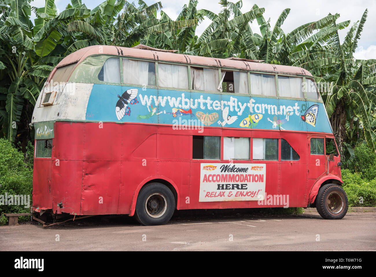 Batchelor, Northern Territory, Australia-February 9,2019: Vintage, colorful double-decker bus at the Butterfly Farm in Batchelor, Australia - Stock Image