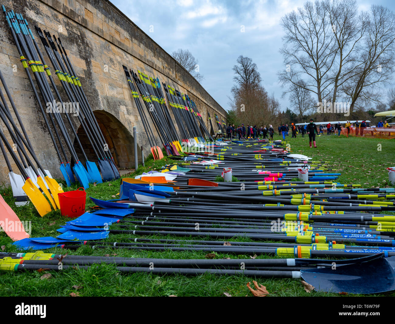 Wallingford/UK, November 25 2018:  Rowing/Sculling Blades lying on the ground before the event at Wallingford, Oxfordshire, England, UK. - Stock Image