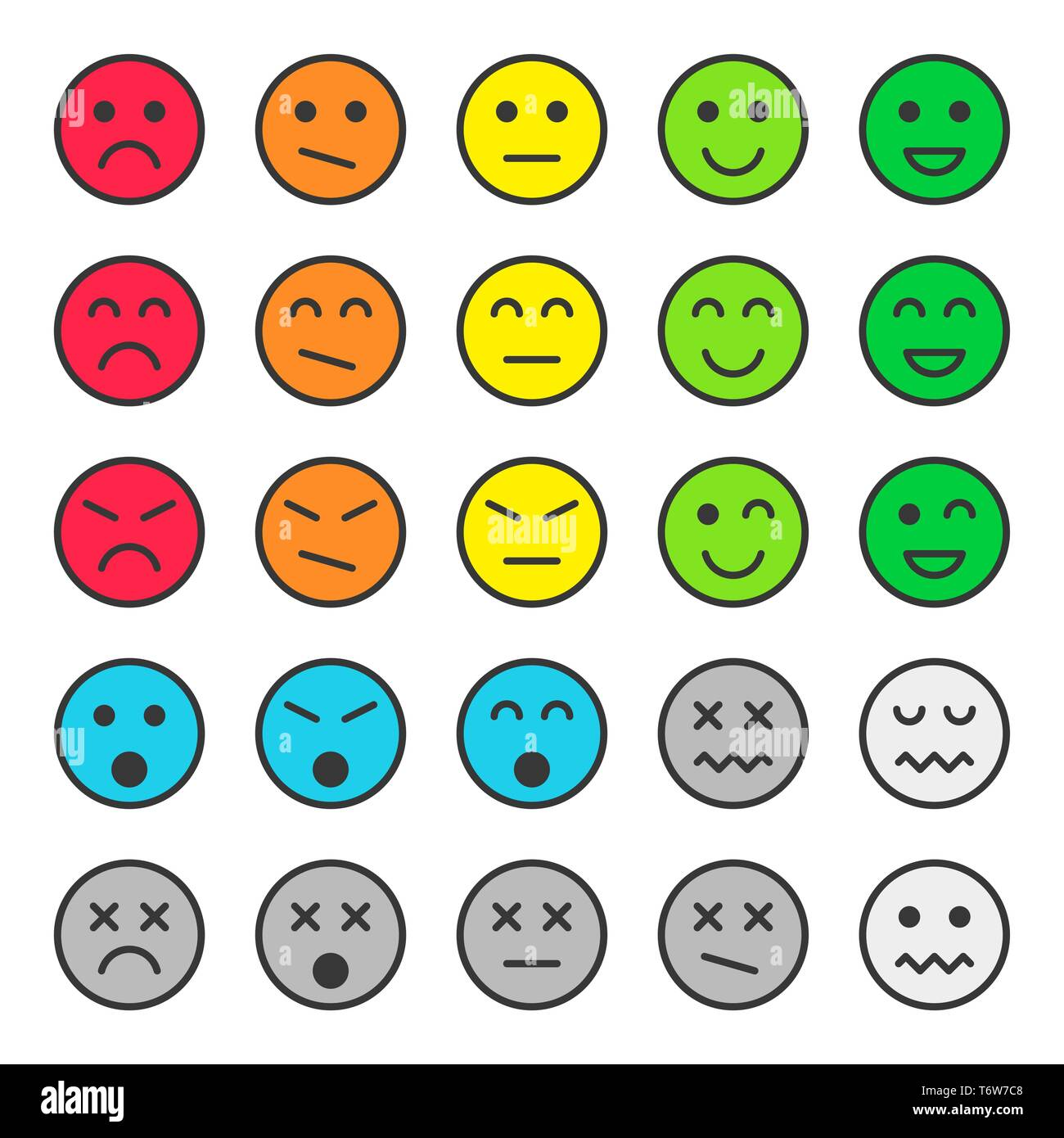Set of colorful emoticons, faces icons. Vector illustration. Isolated on white background. - Stock Image