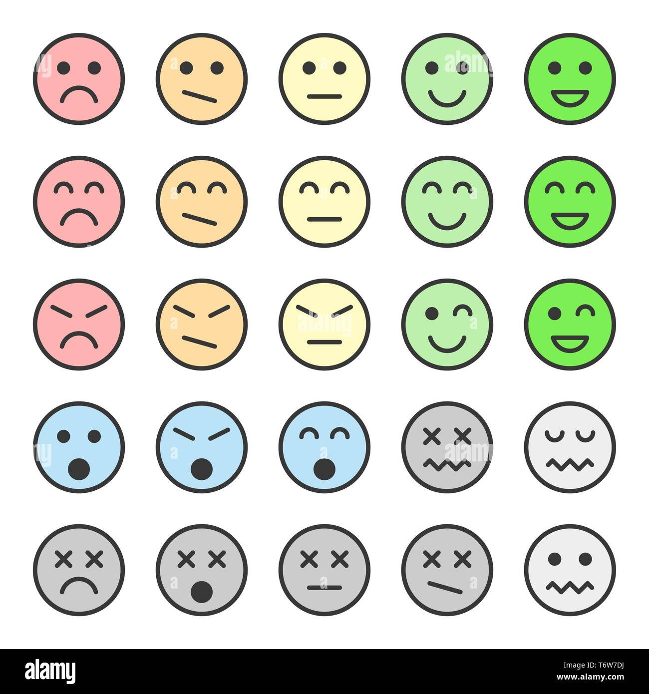 Set of pastel colors emoticons, faces icons. Vector illustration. Isolated on white background. - Stock Image