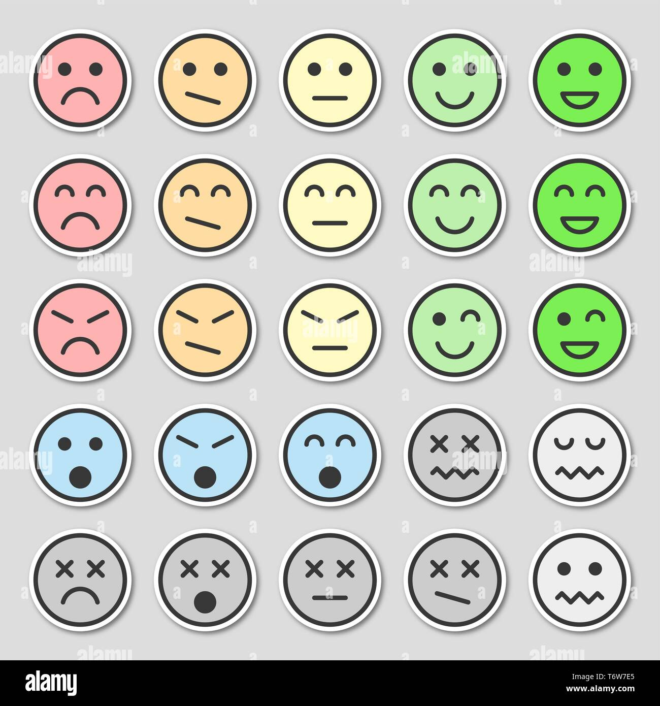 Set of pastel emoticons. Flat and beautiful stickers. Vector illustration,  isolated on gray background. - Stock Vector