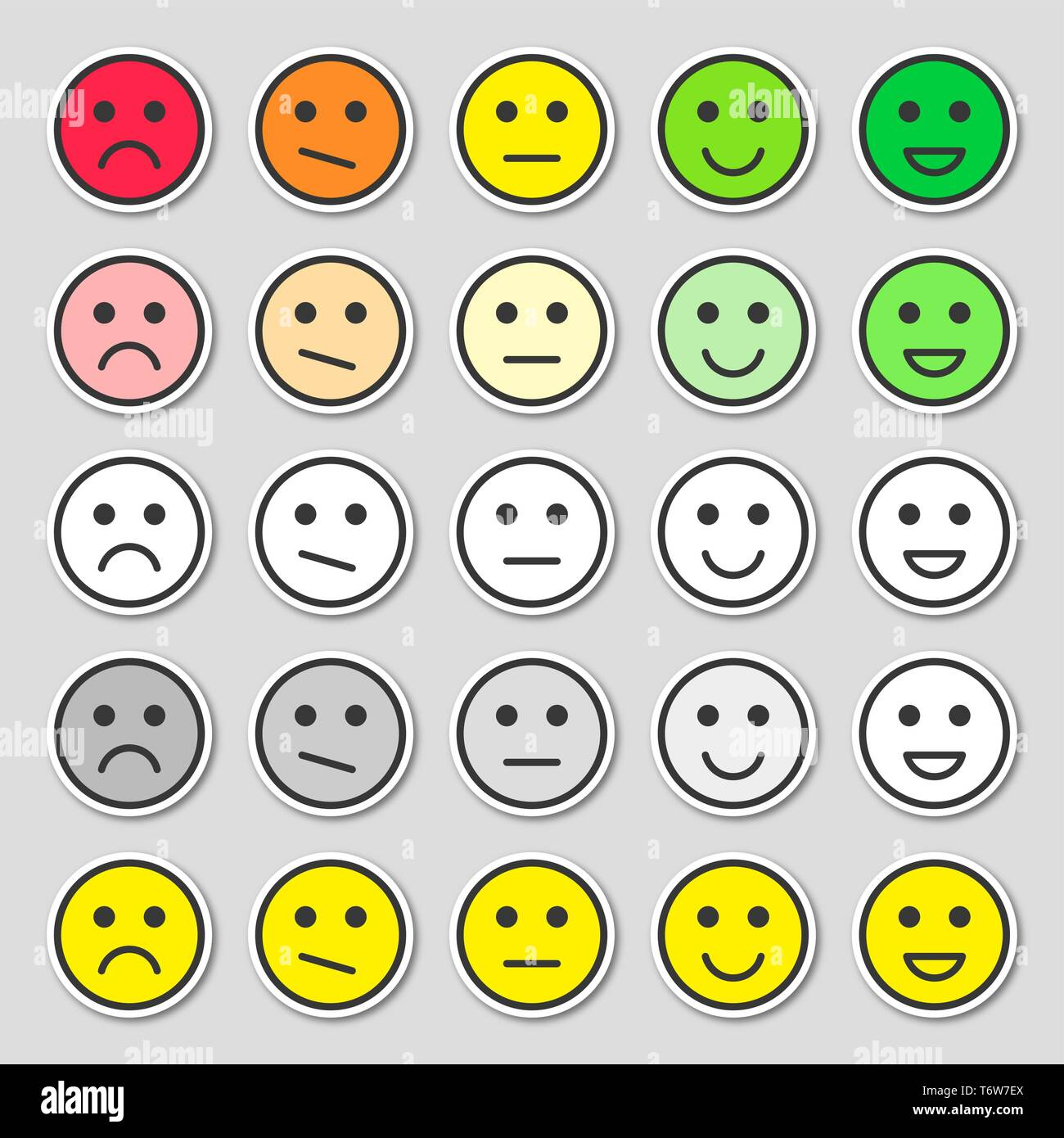 Feedback concept design, emotions scale rating. Simple and flat feedback stickers. - Stock Vector