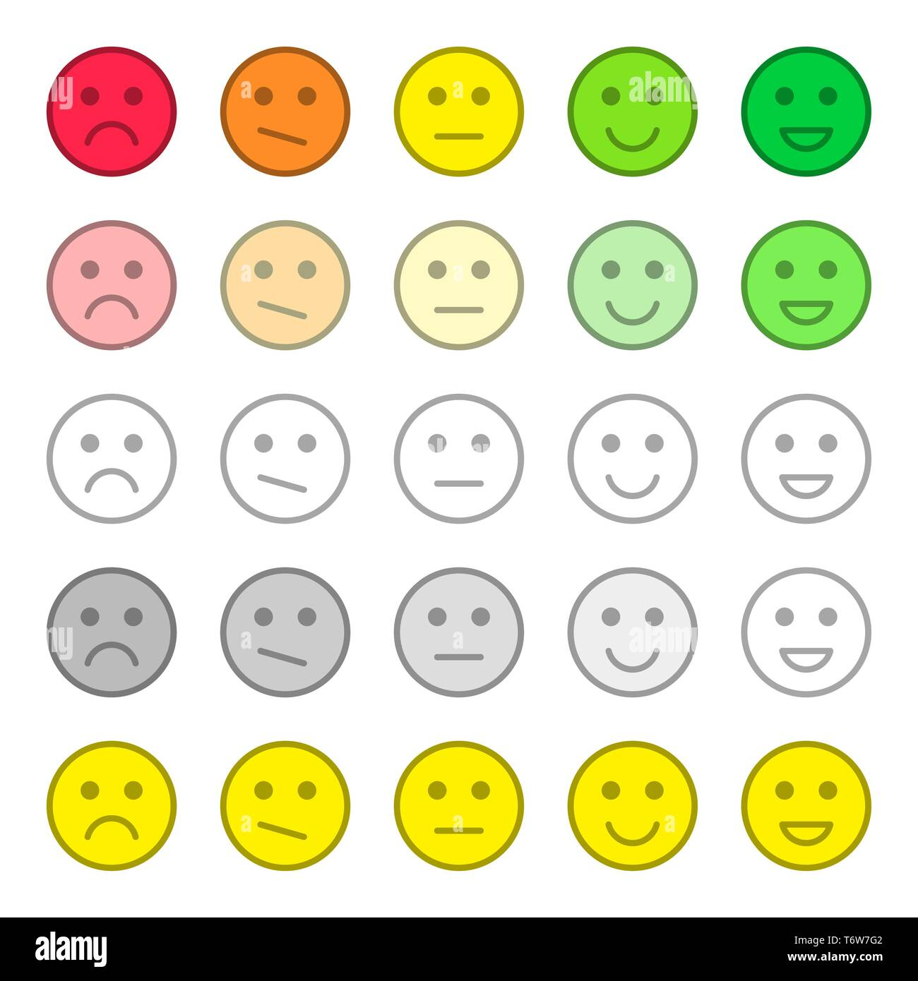 Feedback and rating satisfaction. Customer service quality review. Collection of smiles, various emotions. Beautiful flat icons. - Stock Vector
