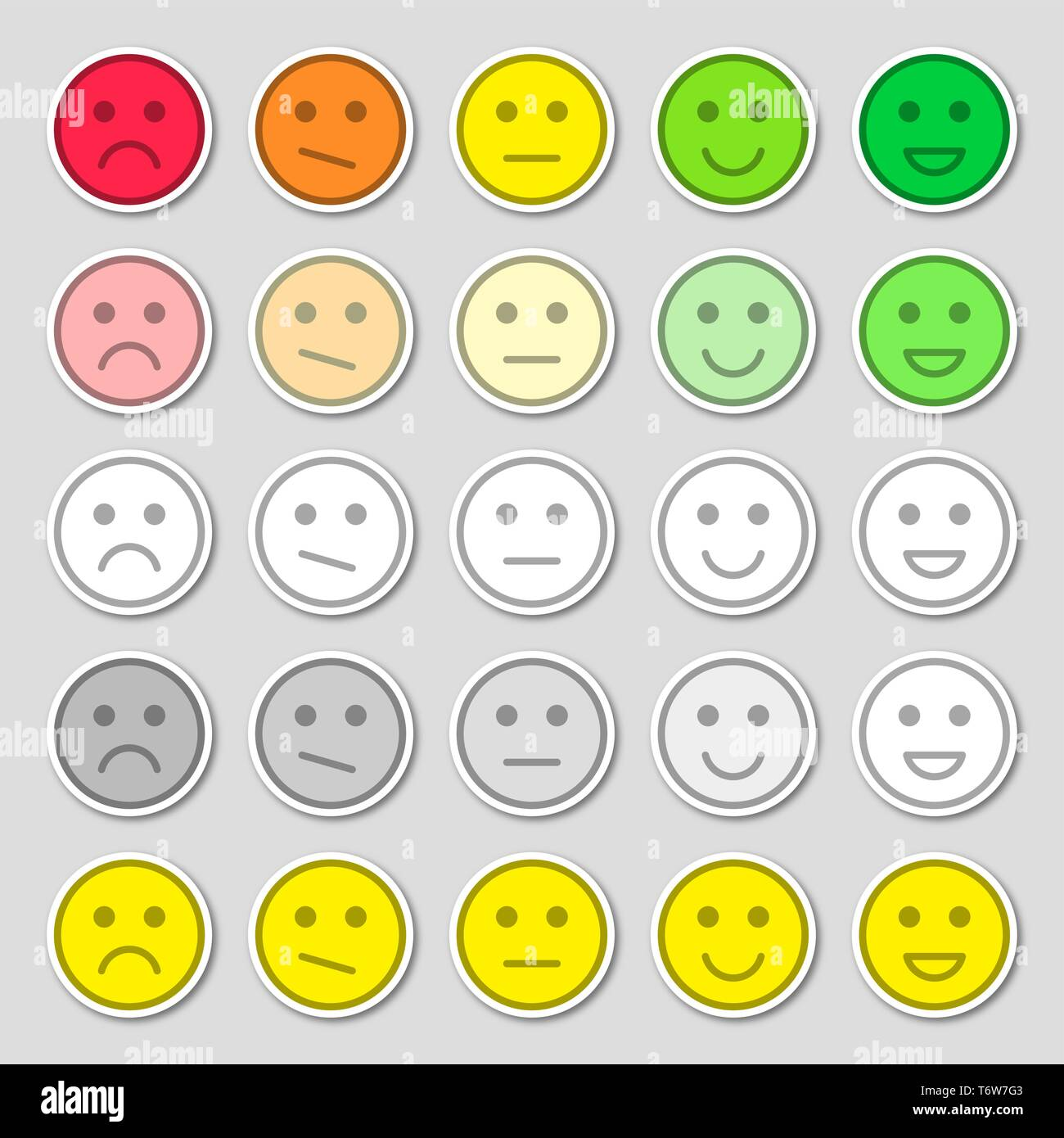 Set of emoji flat icons. Vector illustration. Happy, sad and mood. Vote scale icons set. - Stock Vector