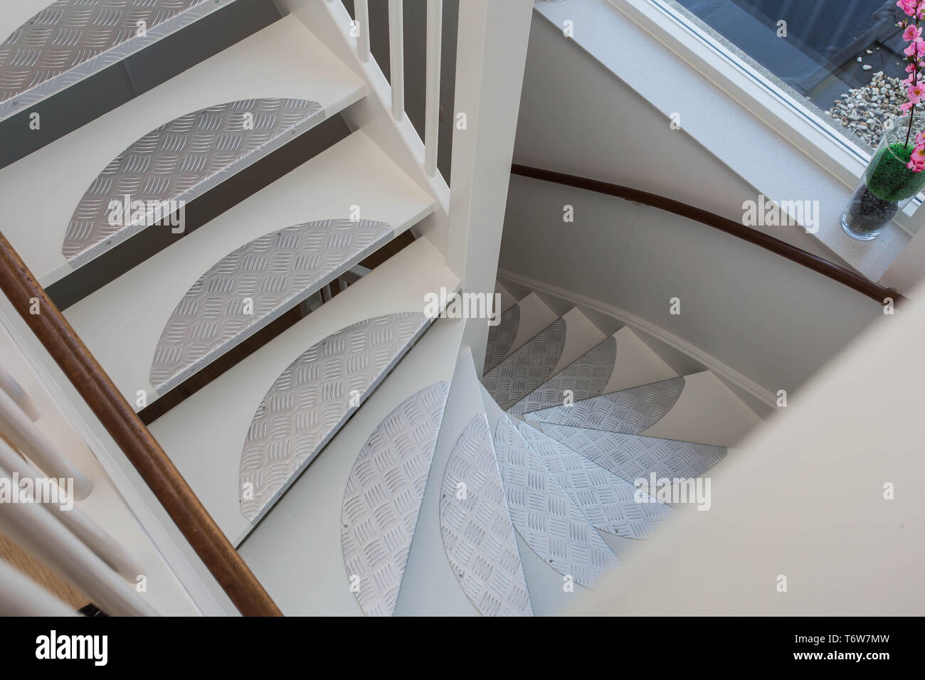 White classic staircase in ariel view, new design - Stock Image