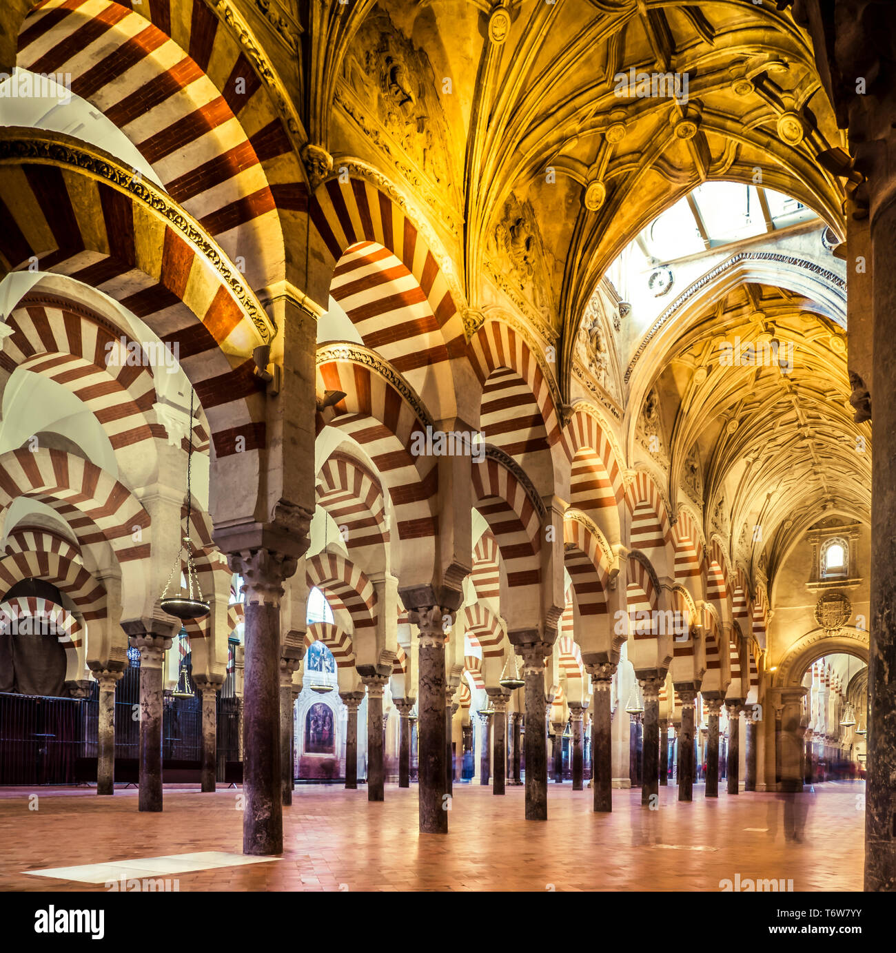 Inside view of The Mosque-Cathedral of Cordoba, Spain April 25, 2019 Stock Photo