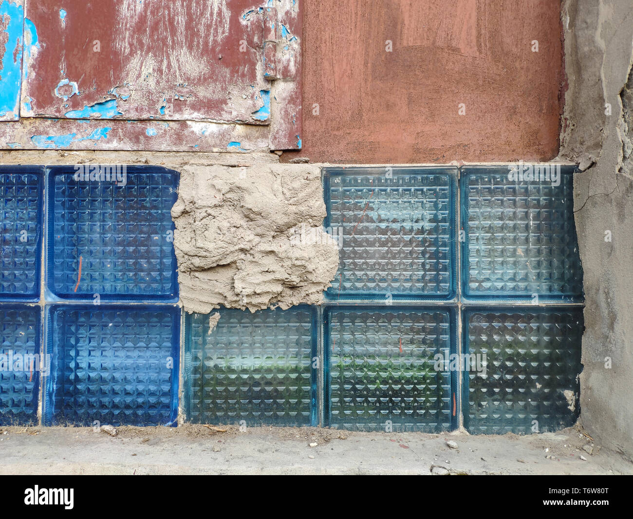 Texture background of old broken glass blocks for mockup or design pattern in construction, food or industrial flat layer of sample concept - Stock Image