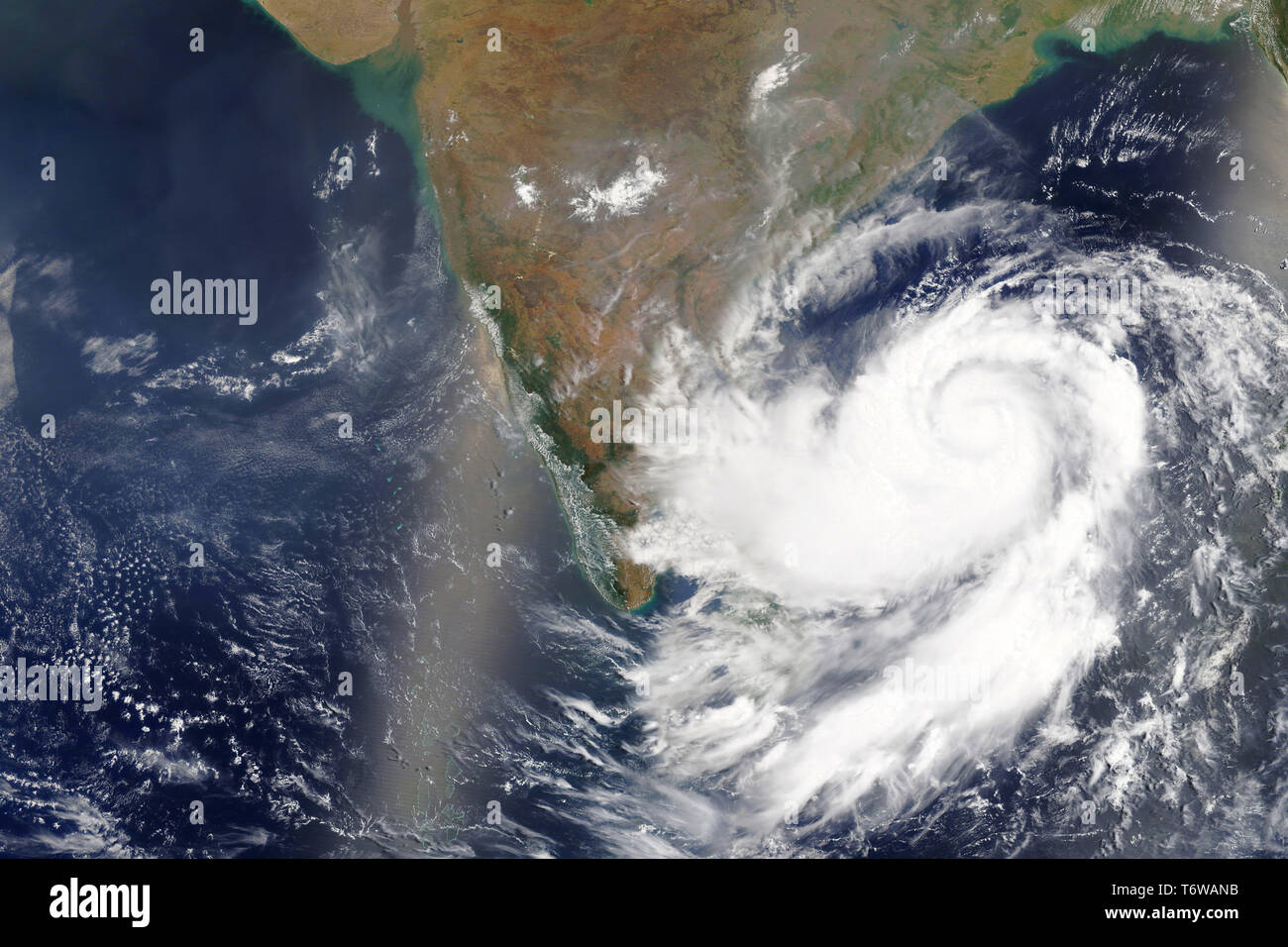 Cyclone Fani heading towards India in 2019 - Elements of this image furnished by NASA Stock Photo