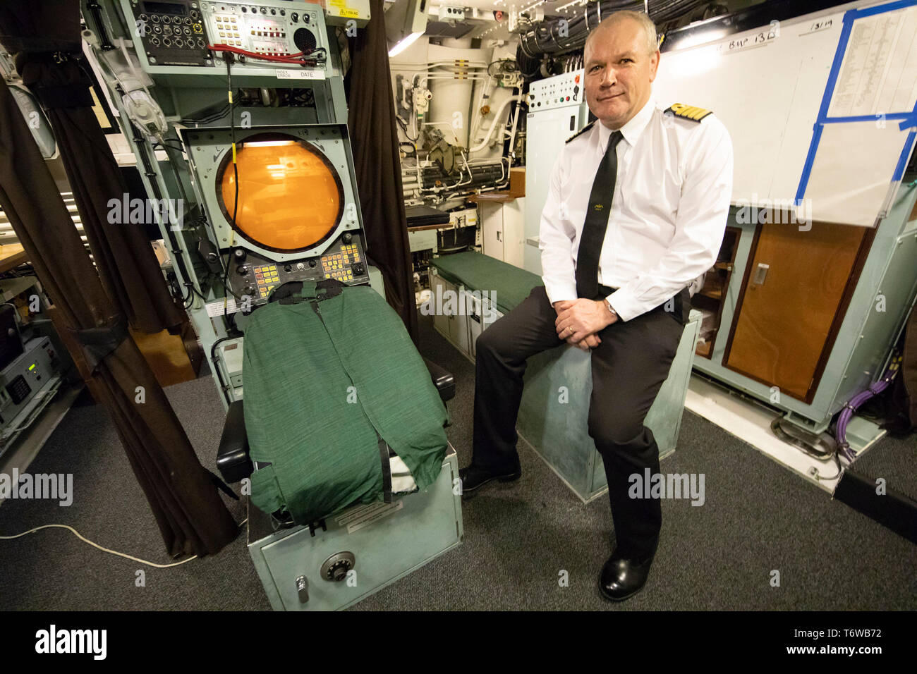 Embargoed to 0001 Friday May 3 Commander Neil Lamont, on board HMS Vigilant at HM Naval Base Clyde, Faslane, the Vanguard-class submarine carries the UK's Trident nuclear deterrent. - Stock Image