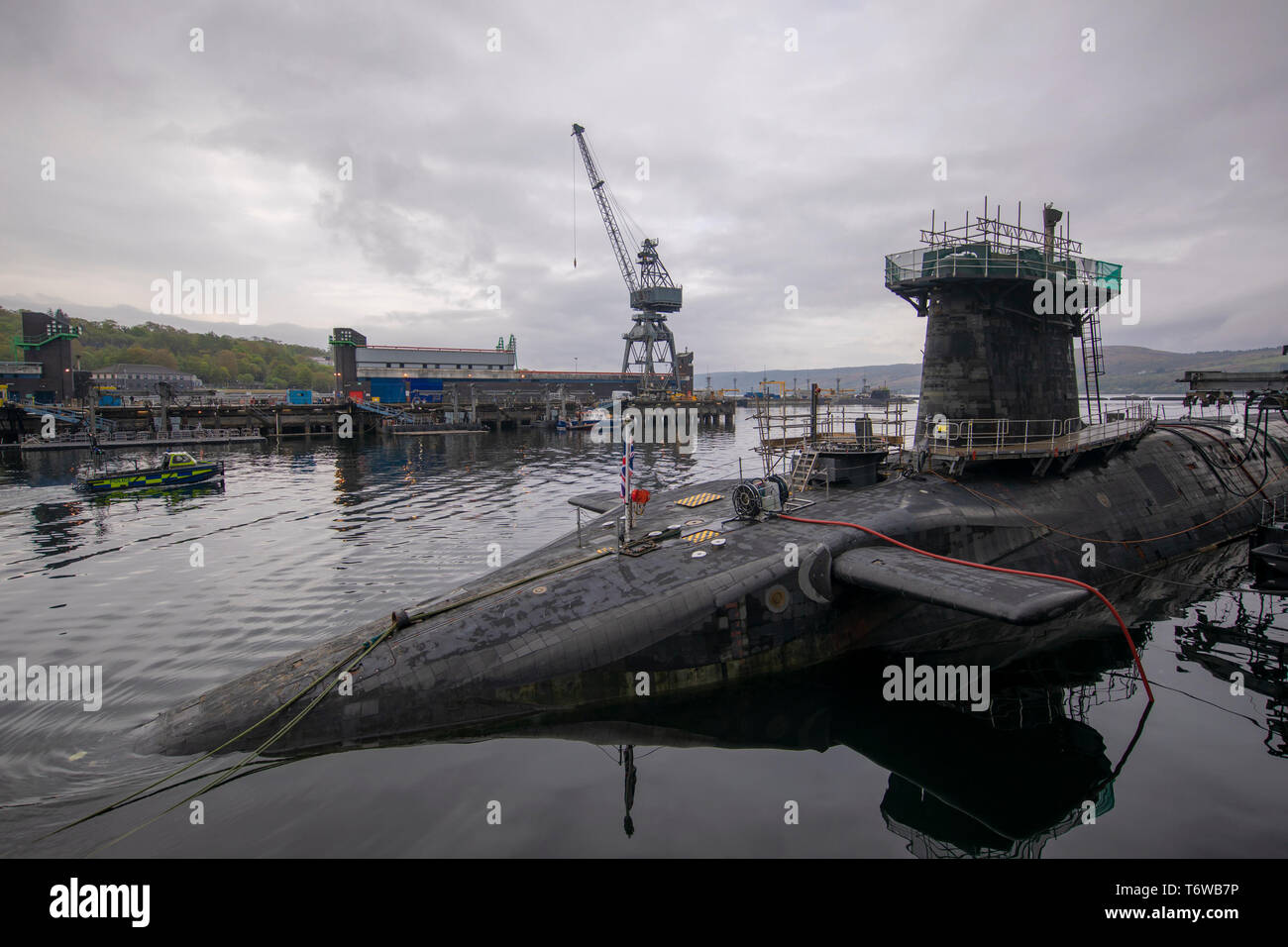 Embargoed to 0001 Friday May 3 HMS Vigilant at HM Naval Base Clyde, Faslane, the Vanguard-class submarine carries the UK's Trident nuclear deterrent. - Stock Image