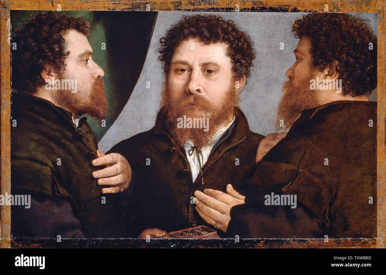 Lorenzo Lotto - Triplice Ritratto di orefice - Triple portrait of a goldsmith ( Bartolomeo Carpan ? ) - 1530 - Stock Image