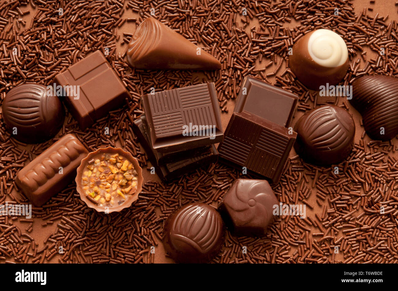 chocolate bonbons and pralines - Stock Image