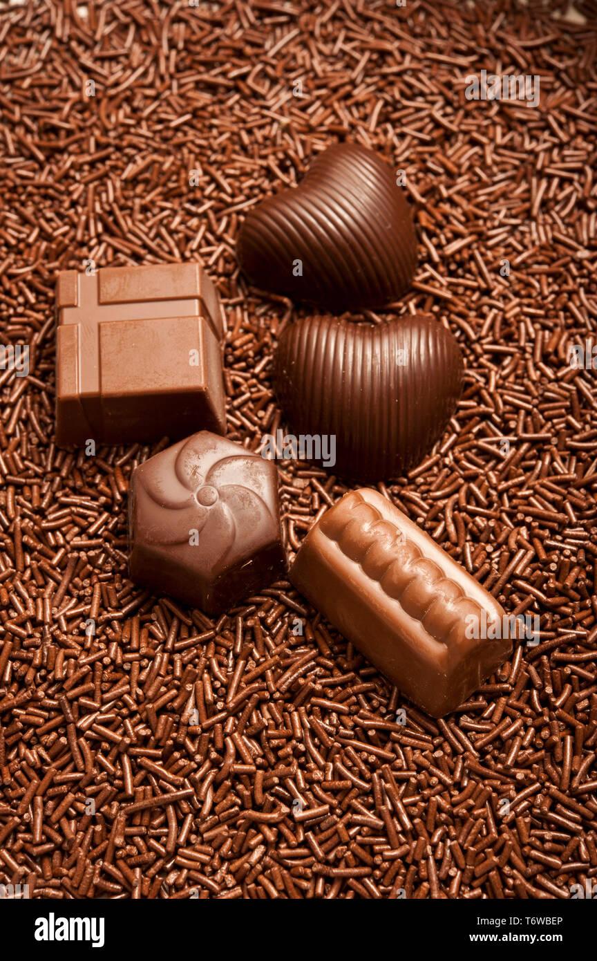 chocolate bonbons or pralines Stock Photo