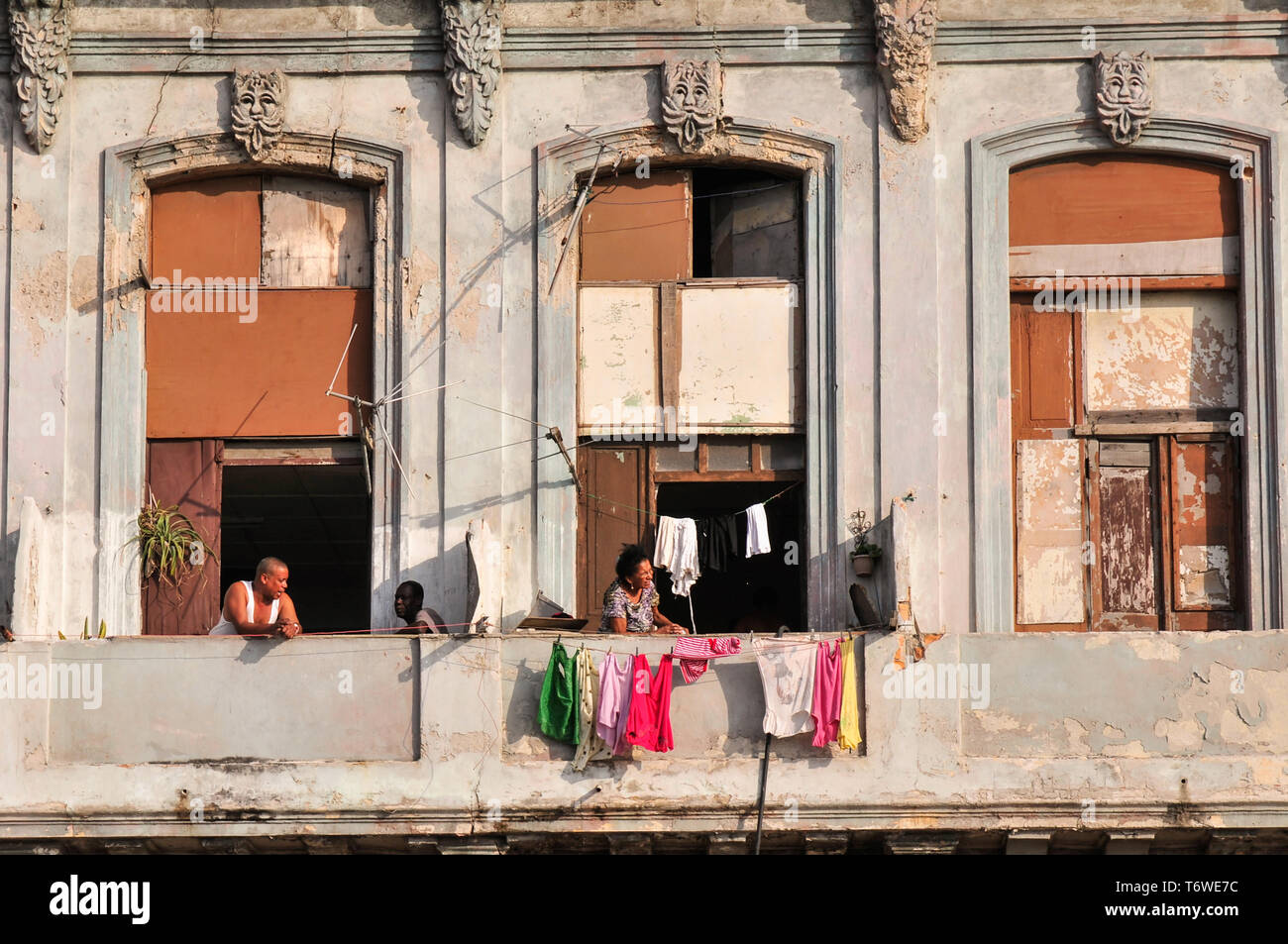 Family dry washing alond the Malecon, Havana Cuba Stock Photo