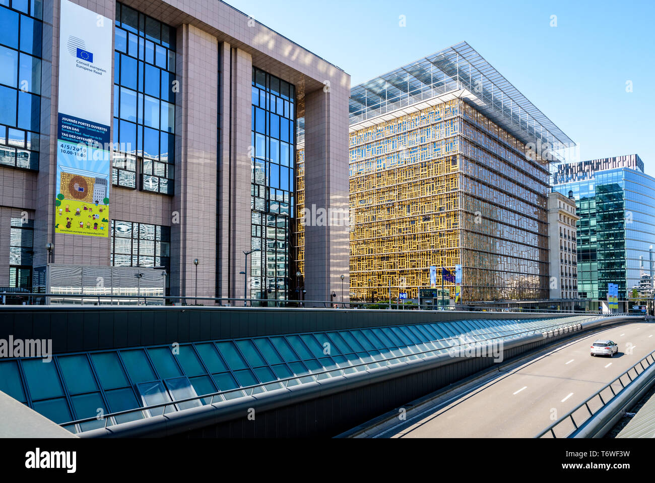 The Justus Lipsius building (left) and Europa building (right), seat of the European Council in Brussels, Belgium, along the road rue de la Loi below. - Stock Image