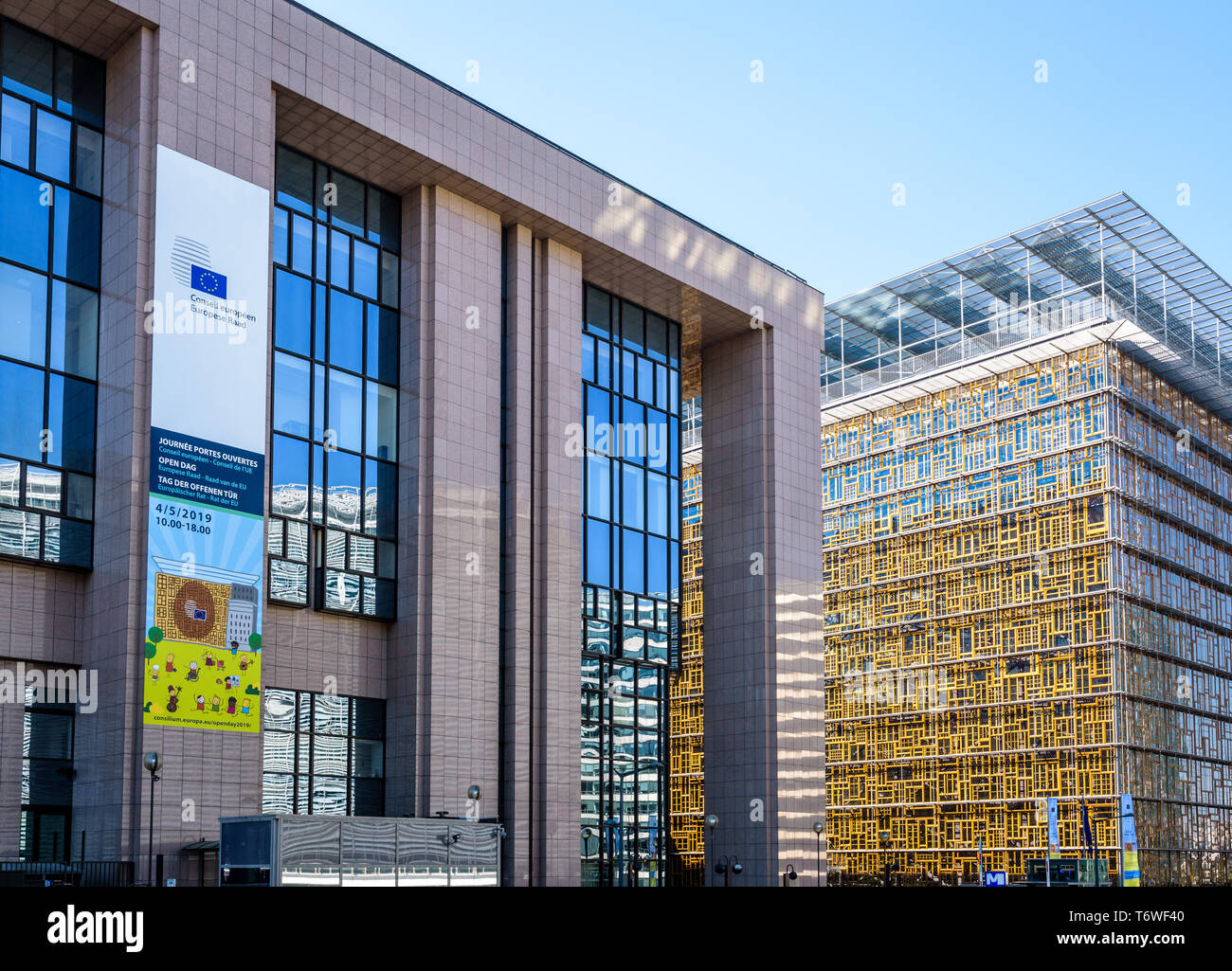 Close-up view of the Justus Lipsius building (left) and Europa building (right), seat of the Council of the European Union in Brussels, Belgium. - Stock Image