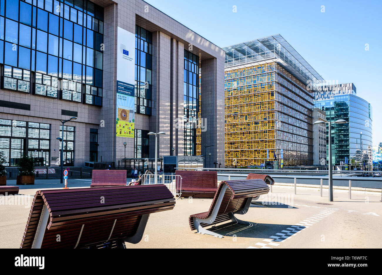 The Justus Lipsius building (left) and Europa building (right), seat of the European Council in Brussels, Belgium, with public benches in front. - Stock Image
