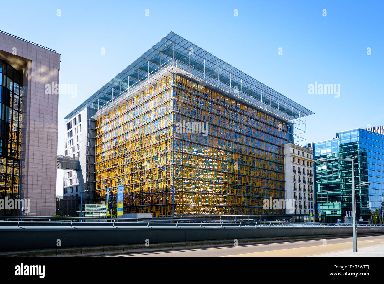 The Europa building on a sunny day, seat of the Council of the European Union and the European Council in the European quarter in Brussels, Belgium. - Stock Image
