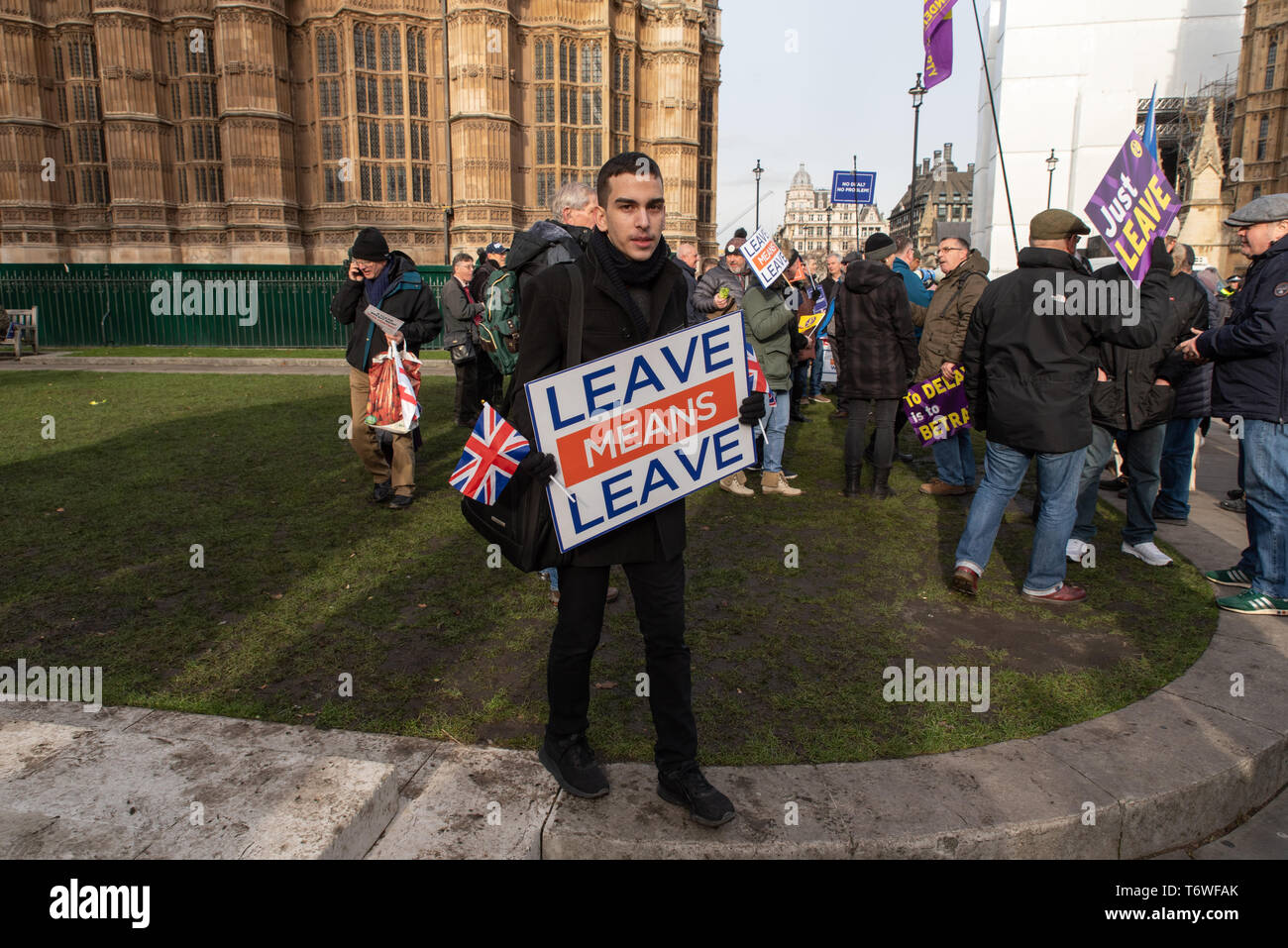 Vote Leave supporters in Westminster before an important vote in Parliament, London, Great Britain. 29th January 2019. - Stock Image