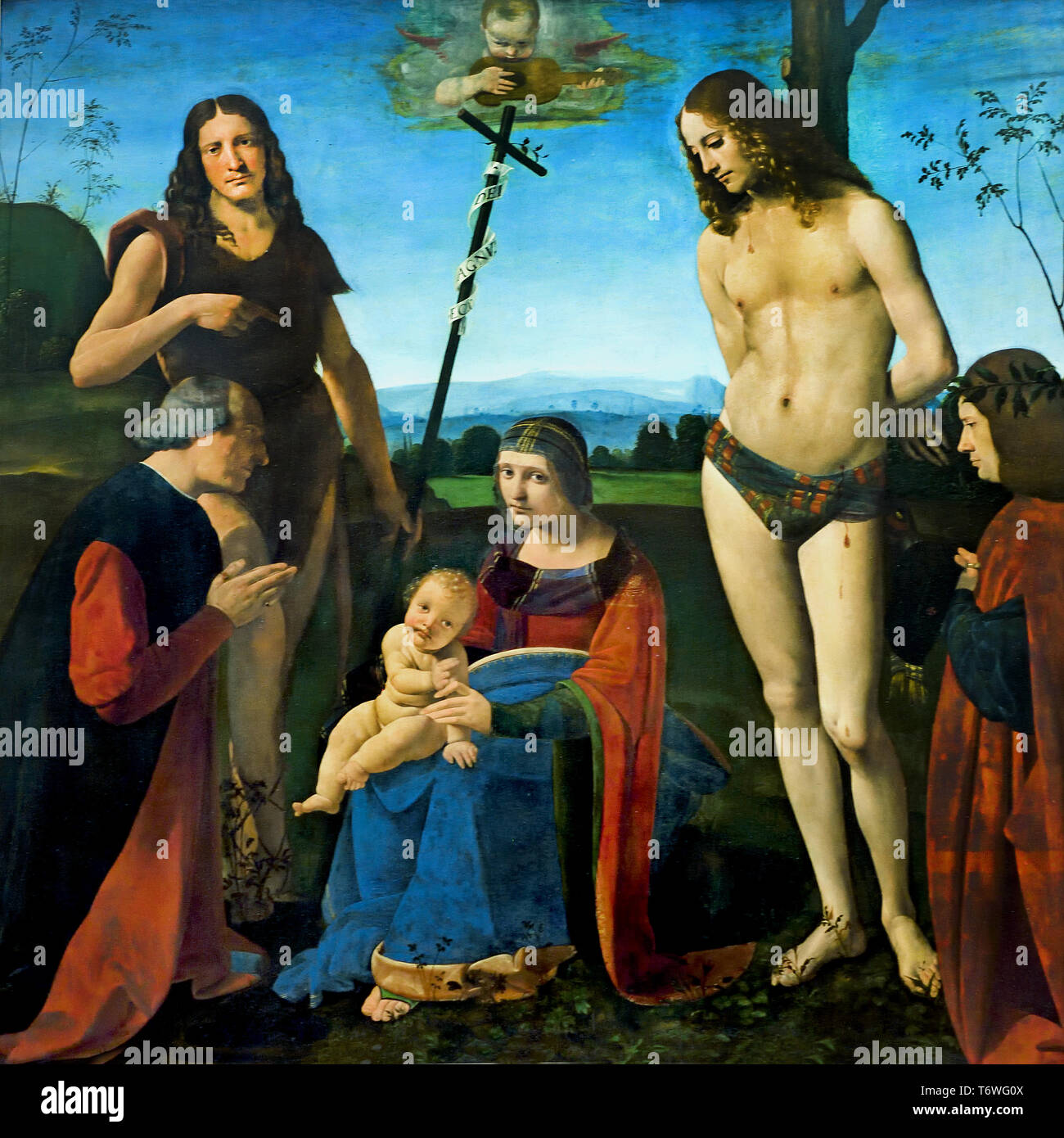 The Virgin and Child with St. John the Baptist and St. Sebastian and two donors, (Pala Casio,) by  Giovanni Antonio BOLTRAFFIO 1467 - 1516, Milan, Italy, Italian. - Stock Image