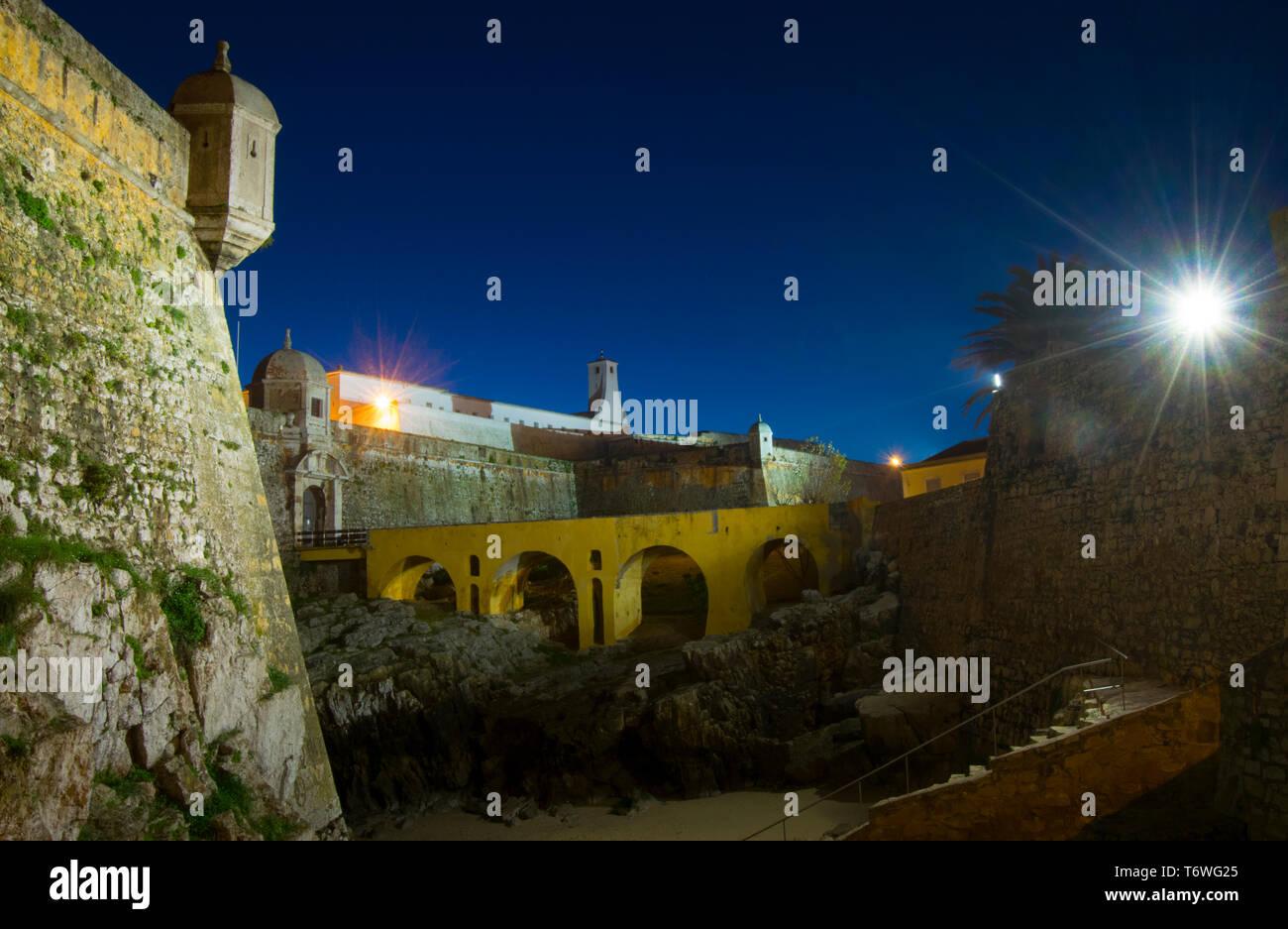 Old Citadel ( Fortaleza ) at night in Peniche Portugal - Stock Image