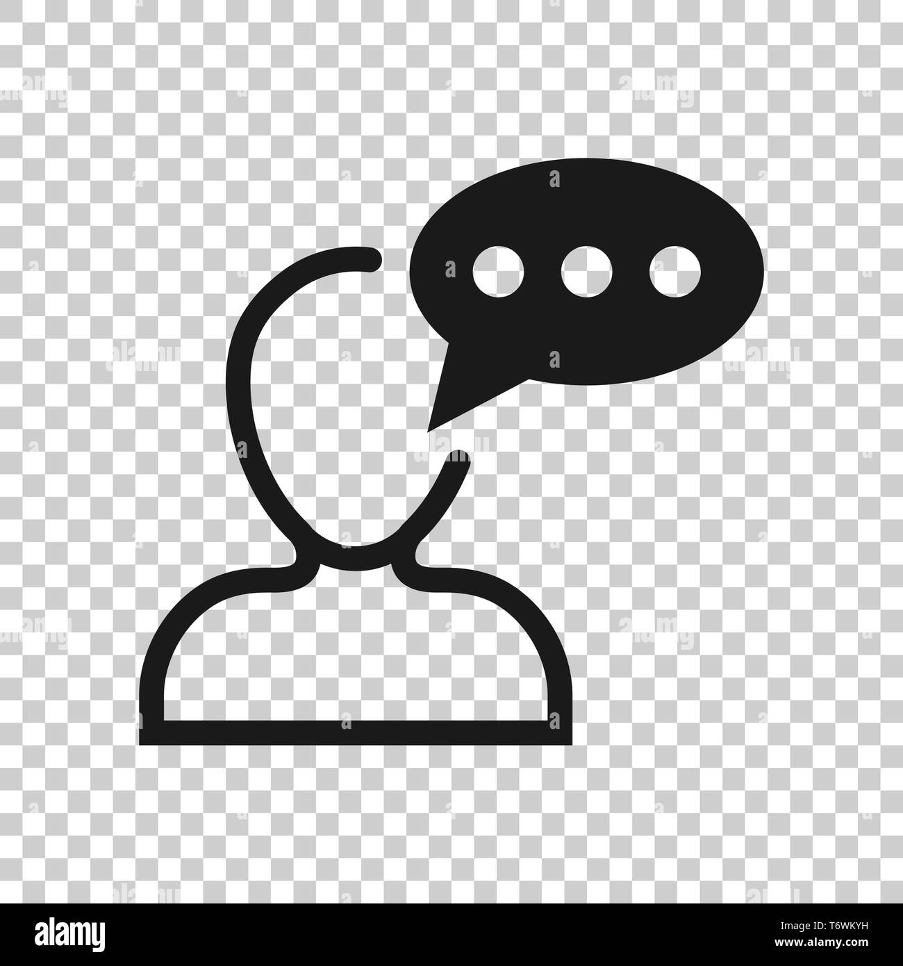 Man head mind thinking icon in transparent style. Speech bubble with people vector illustration on isolated background. Contemplating dialog business  - Stock Vector